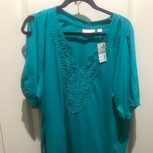 NWT Avenue 22/24 Turquoise Blouse